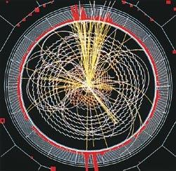 Модель распада бозона Хиггса, который (возможно) удастся зафиксировать на детекторе CMS Большого адронного коллайдера