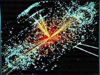 Распад гипотетической частицы - бозона Хиггса - в Большом адронном коллайдере. Рисунок с сайта cern.ch.